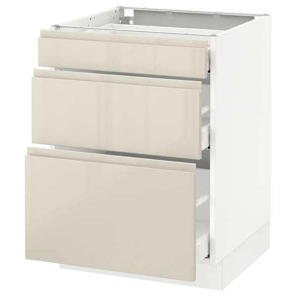 SEKTION Base cabinet with 3 drawers, white Maximera/Voxtorp high-gloss light beige, 24x24x30 ""