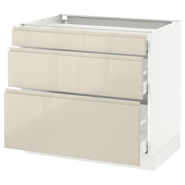 """SEKTION Base cabinet with 3 drawers, white Maximera/Voxtorp high-gloss light beige, 36x24x30 """""""