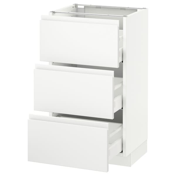 "SEKTION Base cabinet with 3 drawers, white Maximera/Voxtorp matt white, 18x15x30 """
