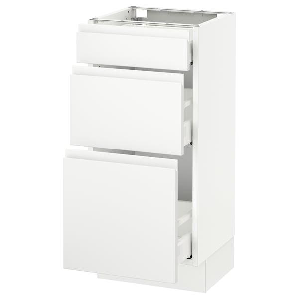"SEKTION Base cabinet with 3 drawers, white Maximera/Voxtorp matt white, 15x15x30 """