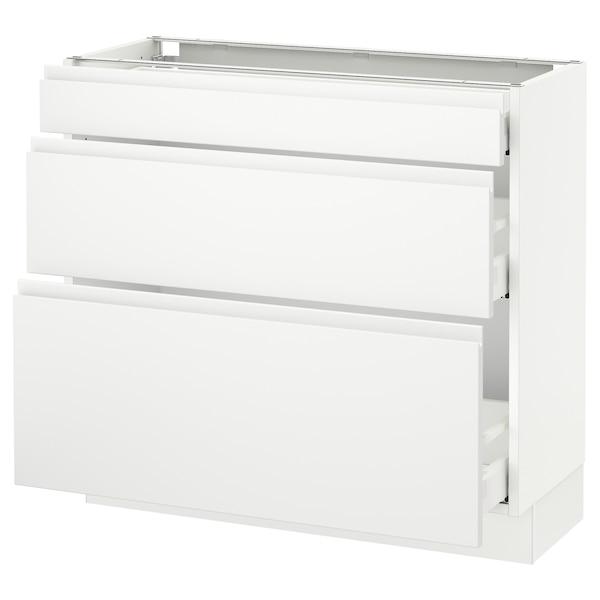 "SEKTION Base cabinet with 3 drawers, white Maximera/Voxtorp matt white, 36x15x30 """