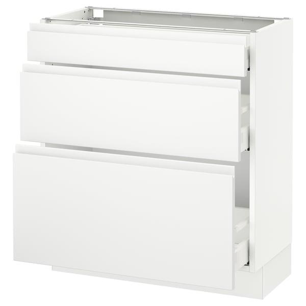 "SEKTION Base cabinet with 3 drawers, white Maximera/Voxtorp matt white, 30x15x30 """