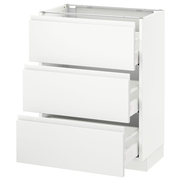 "SEKTION Base cabinet with 3 drawers, white Maximera/Voxtorp matt white, 24x15x30 """
