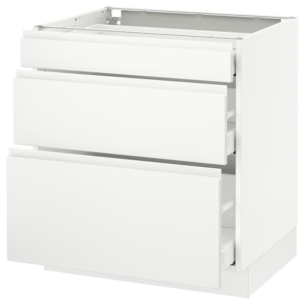 "SEKTION Base cabinet with 3 drawers, white Maximera/Voxtorp matt white, 30x24x30 """