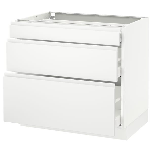 "SEKTION Base cabinet with 3 drawers, white Maximera/Voxtorp matt white, 36x24x30 """
