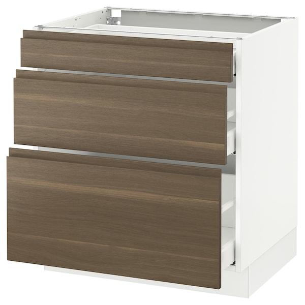 "SEKTION Base cabinet with 3 drawers, white Maximera/Voxtorp walnut, 30x24x30 """