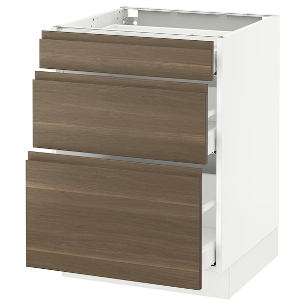 "SEKTION Base cabinet with 3 drawers, white Maximera/Voxtorp walnut, 24x24x30 """