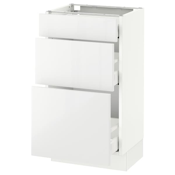 "SEKTION base cabinet with 3 drawers white Maximera/Ringhult white 18 "" 15 "" 15 1/2 "" 30 """