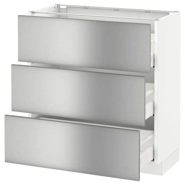 """SEKTION base cabinet with 3 drawers white Maximera/Grevsta stainless steel 30 """" 15 """" 15 1/2 """" 30 """""""