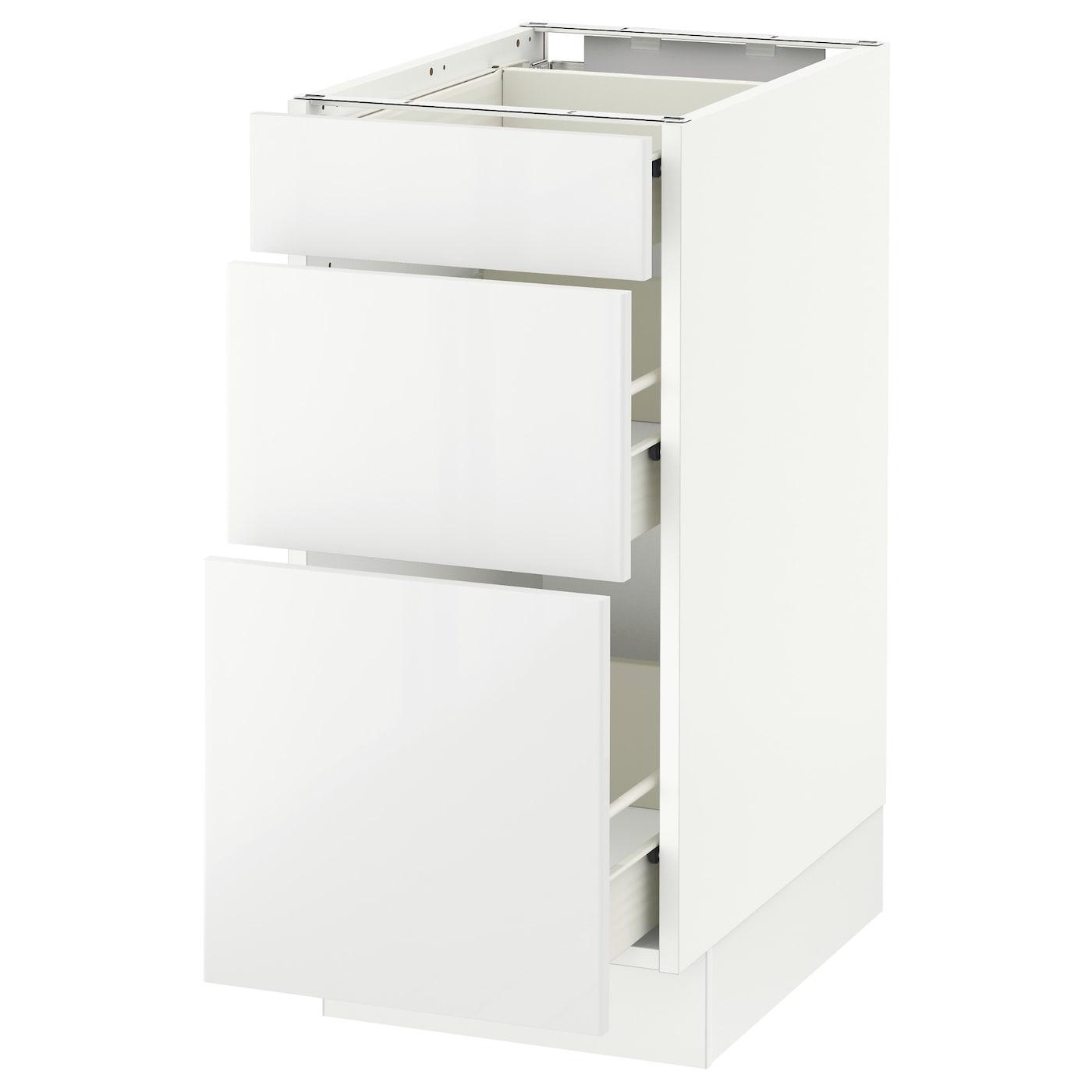 SEKTION Base cabinet with 3 drawers - white Förvara ...