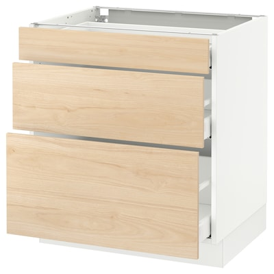 "SEKTION base cabinet with 3 drawers white Maximera/Askersund light ash effect 30 "" 24 "" 24 3/4 "" 30 """