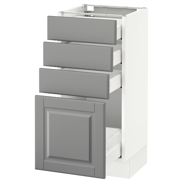SEKTION Base cabinet with 4 drawers, white Maximera/Bodbyn gray, 15x15x30 ""