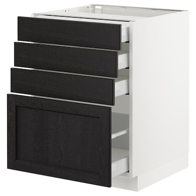 """SEKTION Base cabinet with 4 drawers, white Maximera/Lerhyttan black stained, 24x24x30 """""""
