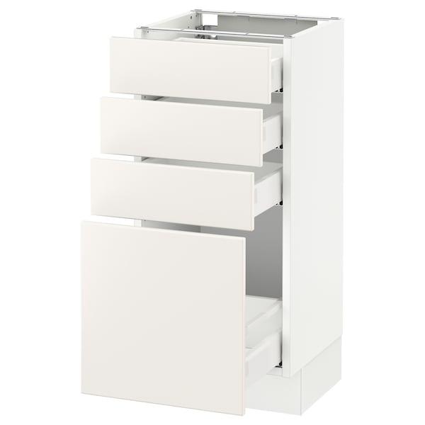 """SEKTION Base cabinet with 4 drawers, white Maximera/Veddinge white, 15x15x30 """""""