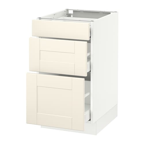 Sektion base cabinet with 3 drawers white ma grimsl v for Ikea sektion kitchen cabinets