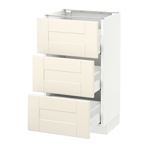 Sektion base cabinet with 3 drawers white grimsl v off for Ikea sektion kitchen cabinets