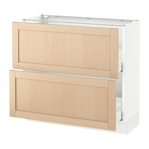 SEKTION Base cabinet with 2 drawers - white, Björket birch ...
