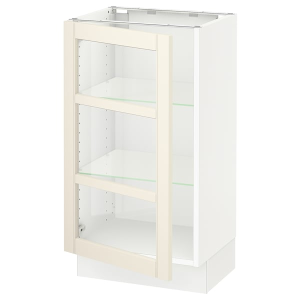 SEKTION Base cabinet with glass door, white/Hittarp off-white, 18x15x30 ""
