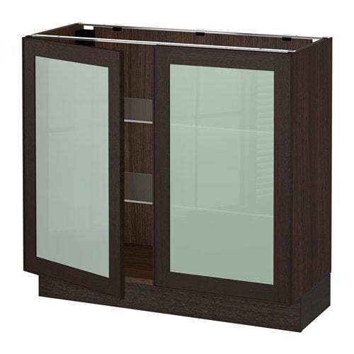 Sektion Base Cabinet With 2 Glass Doors Wood Effect Brown Ekestad