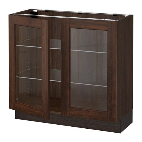 Sektion base cabinet with 2 glass doors wood effect for Wood effect kitchen doors