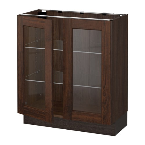 Ikea Kitchen Wood Cabinets: SEKTION Base Cabinet With 2 Glass Doors