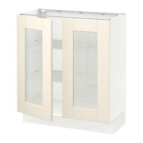 sektion base cabinet with 2 glass doors white grimsl v