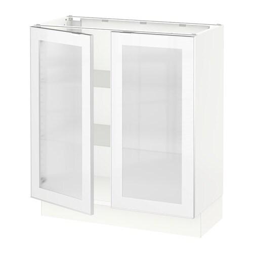 sektion base cabinet with 2 glass doors white jutis