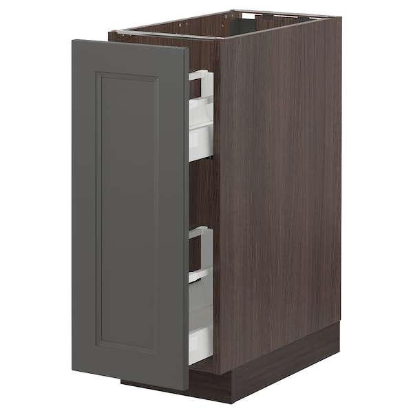 SEKTION Base cabinet with pull-out storage, brown/Axstad dark gray, 12x24x30 ""
