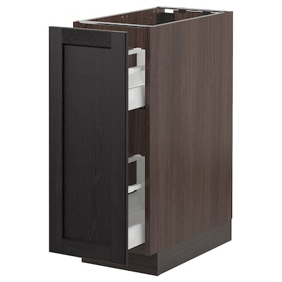 SEKTION Base cabinet with pull-out storage, brown/Lerhyttan black stained, 12x24x30 ""