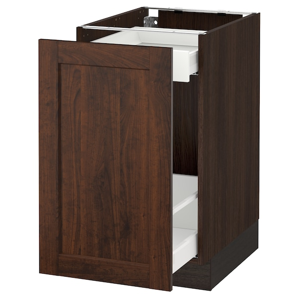SEKTION Base cabinet with pull-out storage, brown Maximera/Edserum brown, 18x24x30 ""