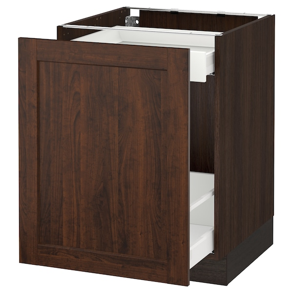 SEKTION Base cabinet with pull-out storage, brown Maximera/Edserum brown, 24x24x30 ""