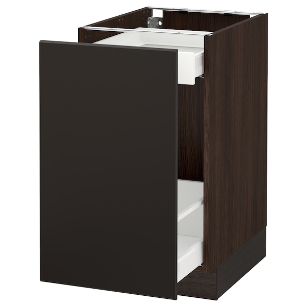 SEKTION Base cabinet with pull-out storage, brown Maximera/Kungsbacka anthracite, 18x24x30 ""