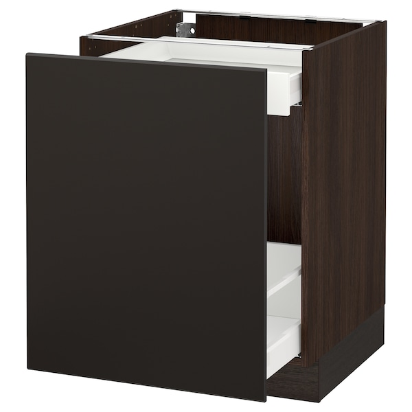 """SEKTION Base cabinet with pull-out storage, brown Maximera/Kungsbacka anthracite, 24x24x30 """""""