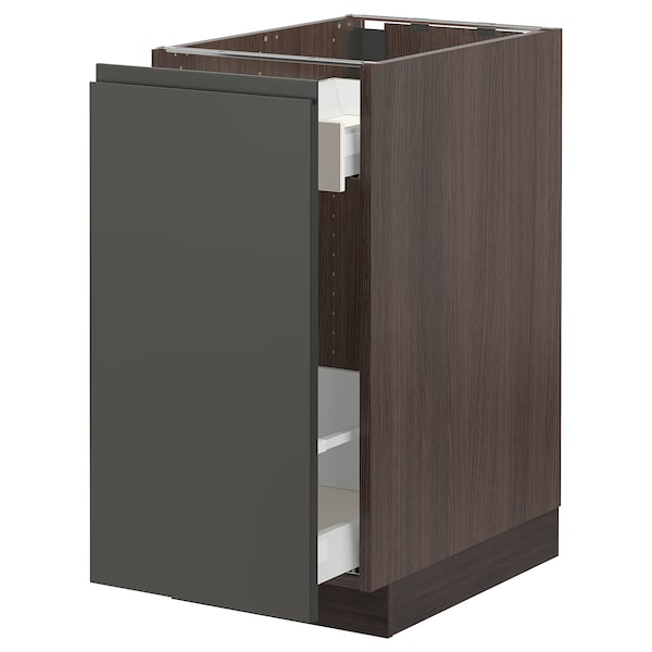 SEKTION Base cabinet with pull-out storage, brown Maximera/Voxtorp dark gray, 15x24x30 ""