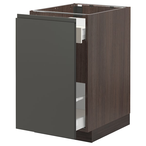 """SEKTION Base cabinet with pull-out storage, brown Maximera/Voxtorp dark gray, 18x24x30 """""""