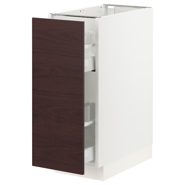 SEKTION Base cabinet with pull-out storage, white Askersund/dark brown ash effect, 12x24x30 ""