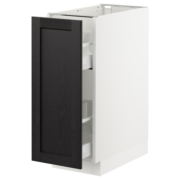"""SEKTION Base cabinet with pull-out storage, white/Lerhyttan black stained, 12x24x30 """""""