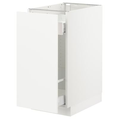 SEKTION Base cabinet with pull-out storage, white Maximera/Axstad matt white, 15x24x30 ""