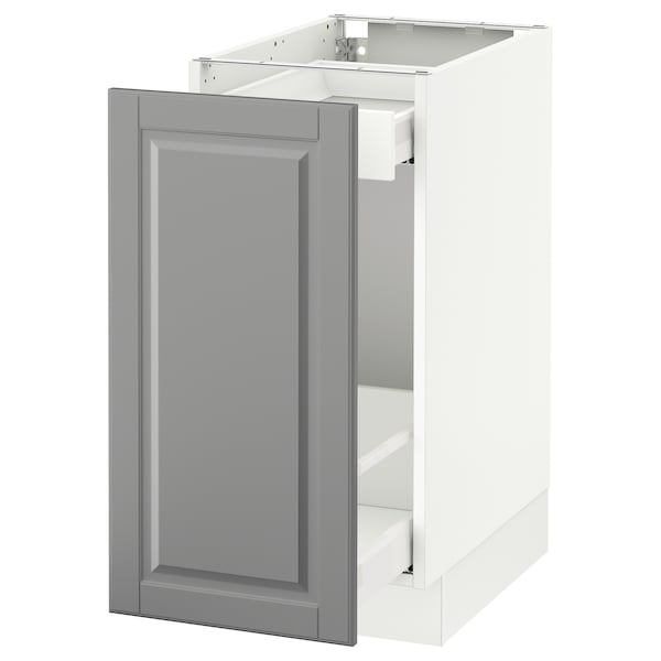 SEKTION Base cabinet with pull-out storage, white Maximera/Bodbyn gray, 15x24x30 ""