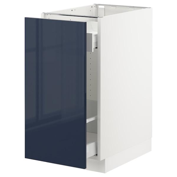 "SEKTION Base cabinet with pull-out storage, white Maximera/Järsta black-blue, 15x24x30 """