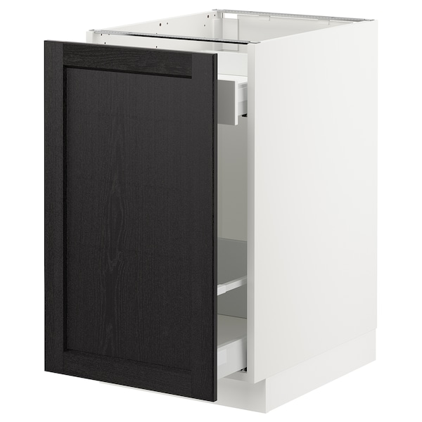 """SEKTION Base cabinet with pull-out storage, white Maximera/Lerhyttan black stained, 18x24x30 """""""