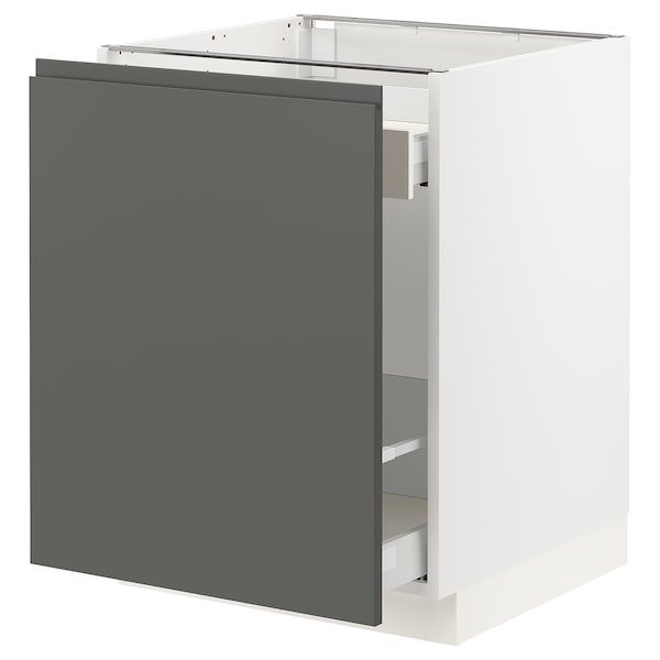 SEKTION Base cabinet with pull-out storage, white Maximera/Voxtorp dark gray, 24x24x30 ""