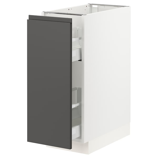 """SEKTION Base cabinet with pull-out storage, white/Voxtorp dark gray, 12x24x30 """""""
