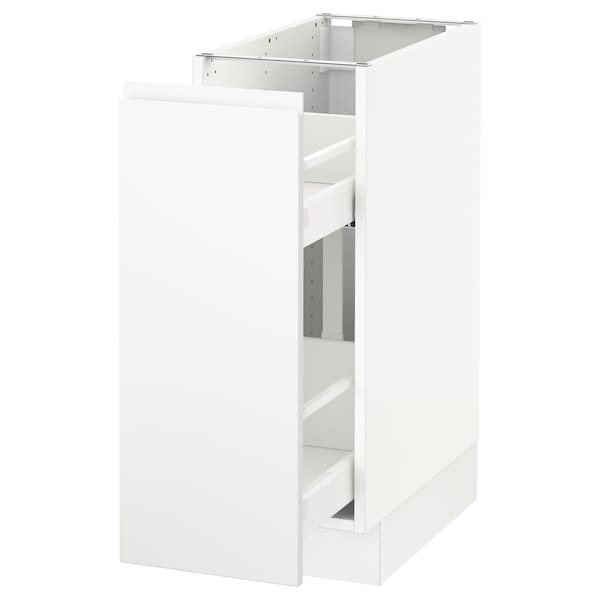 """SEKTION Base cabinet with pull-out storage, white/Voxtorp matt white, 12x24x30 """""""