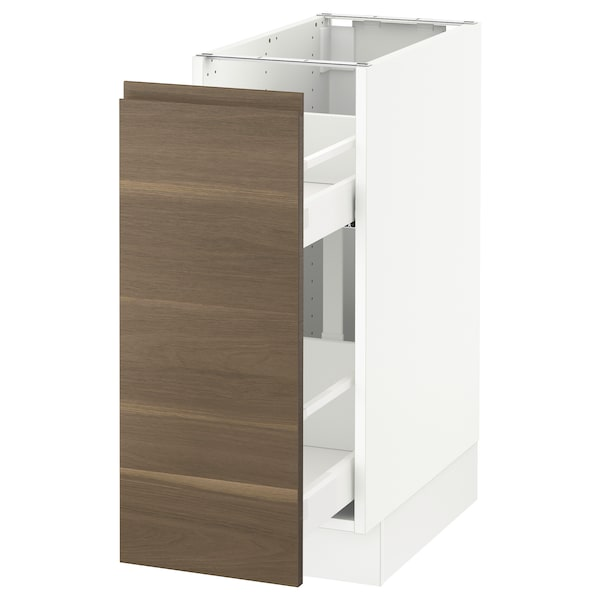 """SEKTION Base cabinet with pull-out storage, white/Voxtorp walnut, 12x24x30 """""""
