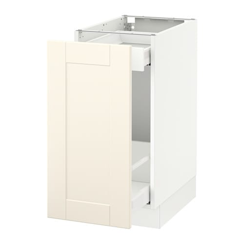 Sektion base cabinet with pull out storage white ma grimsl v off white 15x24x30 ikea - Ikea pull out trash cabinet ...