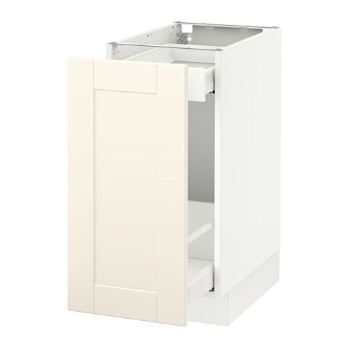 Sektion base cabinet with pull out storage white ma grimsl v off white 15x24x30 ikea - Ikea cabinet trash pull out ...