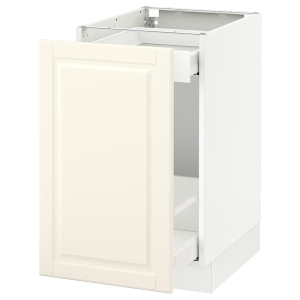 """SEKTION base cabinet with pull-out storage white Maximera/Bodbyn off-white 18 """" 24 """" 24 3/4 """" 30 """""""