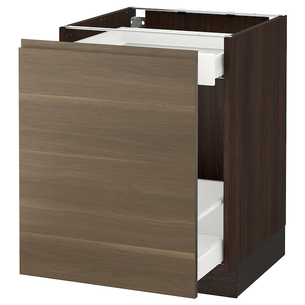 "SEKTION base cabinet with pull-out storage brown Maximera/Voxtorp walnut 24 "" 24 "" 24 7/8 "" 30 """