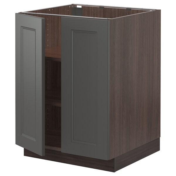 """SEKTION Base cabinet with shelves/2 doors, brown/Axstad dark gray, 24x24x30 """""""